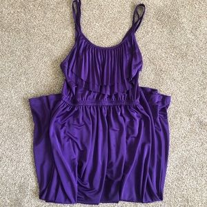 Purple 70s style H&M tank dress with pleated bib